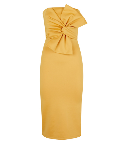 Strapless Bow Front Midi Dress