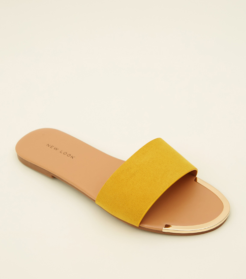 Mustard Suedette Metal Trim Sliders